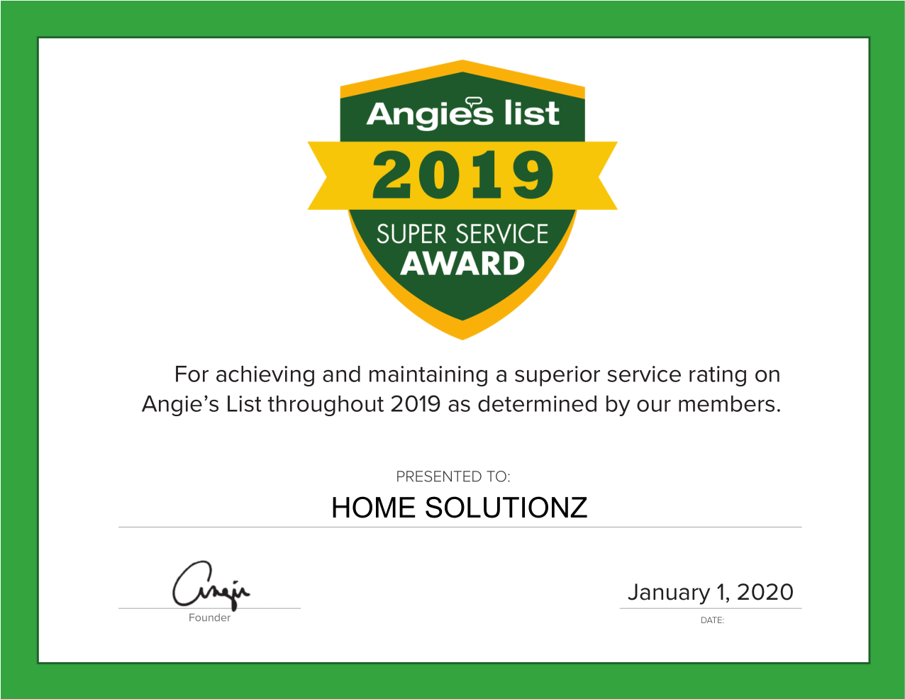 Home Solutionz Earns 2019 Angie's List Super Service Award